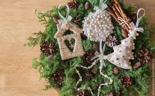 Vianočná ozdoba, jutový domček